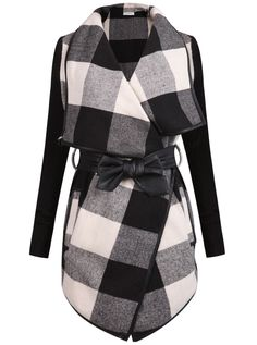 Posh Girl Checkered Leather Trim Wrap Jacket