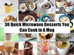 30 Quick Microwave Desserts You Can Cook in A Mug Easy Desserts, Dessert Recipes, Microwave Desserts, Brownie In A Mug, Good Food, Yummy Food, Mug Recipes, Cooking Time, Food To Make