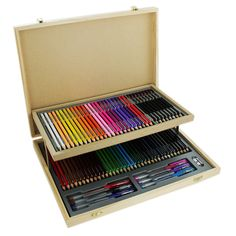 Wooden Stationery Set With Case - 75 Pieces | Art Sets at The Works