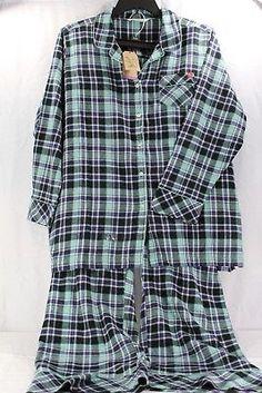 79fcc12418 Woolrich 2 Piece Women s Sleepwear Blue Green Plaid Flannel Set 2XL NWT