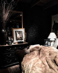 And every home needs a dark luxe room. Tempted to paint my walls black now and add gold accents ev...