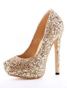 Spike Heel Glitter Faux Leather High Heels