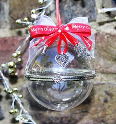 Personalised Hand Blown Glass Christmas Clamshell Bauble - Merry Christmas ribbon by FlairAndFandangle on Etsy