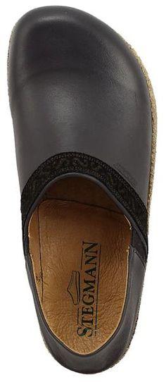 Women's Eiger Leather Clog Shoe with Cork - Black. | stegmannusa.com