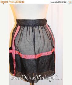 60% OFF Black Friday Sale Vintage Half Apron Hostess Apron Sheer Black with Pink Trim