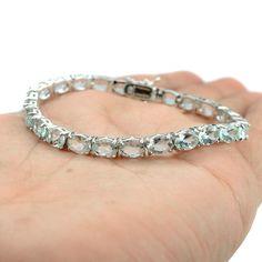 New List Product Natural 7x5 mm. Blue Aquamarine 925 Sterling Silver Handmade Gemstone Bracelet 7.5 Inch. by FinesilverArt on Etsy