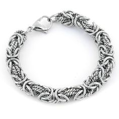 This intricate silver Byzantine bracelet would be a lovely accent to both casual and evening ensembles. Featuring an elaborate twisted chain design, this striking stainless-steel bracelet would make a wonderful gift for a friend or loved one.