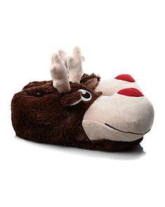 Reindeer Novelty Slippers #Slippers www.Slippers.com