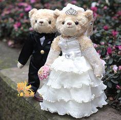 Wedding Teddy Bears | Quality Wedding Teddy Bear ,movable joint,Formal Wedding dress,wedding ...