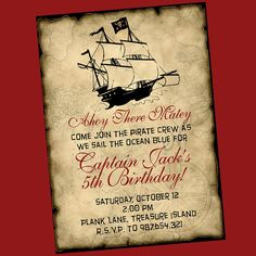 I really hope I can make his 2nd birthday in a pirate them. This shall be the invite.