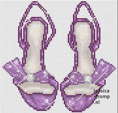 0 point de croix  chaussures violet - cross stitch purple shoes