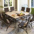 Hampton Bay Pembrey 9-Piece Patio Dining Set with Lumbar Pillows HD14216 at The Home Depot - Mobile