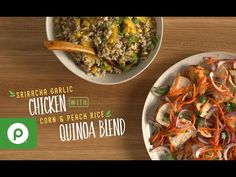Sriracha Garlic Chicken with Corn and Peach Rice Quinoa Blend. A Publix Aprons recipe. Seafood Rice Recipe, Rice Recipes, Chicken Recipes, Simple Meals, Easy Meals, Eat More Chicken, Healthy Food, Healthy Recipes, Bon Appetit