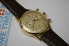 This great 37mm gold filled Excelsior Park with it's manufacture Excelsior Park caliber 4 is now for sale ar www.sometimeag.com. Check out that movement!