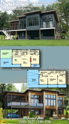 Plan Dramatic Contemporary Home Plan Plan Dramatic Contemporary Home Plan Architectural Designs House Plans archdesigns Modern House Plans Architectural Designs Contemporary Plan client-built […] Homes Cottage square feet Lake House Plans, Dream House Plans, House Floor Plans, The Plan, How To Plan, Plan Plan, Container Home Designs, Storage Container Homes, Contemporary House Plans