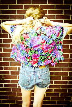 Vintage 80s Purple Blue Green Red Black Floral Button Up Shirt Blouse Top Cardigan Sweater Jacket. $20.00, via Etsy.