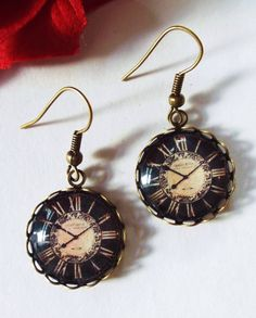 Steampunk earrings Victorian Clock earrings by ThomiGirlPink