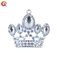 Hot Sell 10pcs/lot 48*38mm Silver Zinc Alloy Rhinestone Clear Crown Pendant For Chunky Beads Jewelry Necklace Magic Jewelry #Affiliate