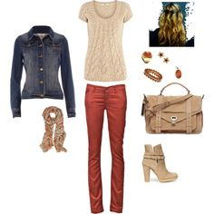 Denim and rust, now I know what to wear with those jeans: pink-cream and denim