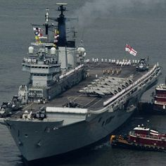 British Aircraft Carrier loaded with Harrier Jets