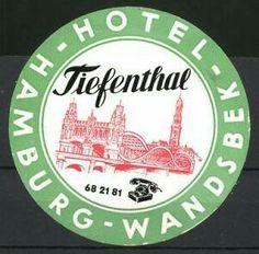 Hamburg-Wandsbek, Hotel Tiefenthal, Brücke, Kirchturm Luggage Stickers, H Hotel, Decorative Plates
