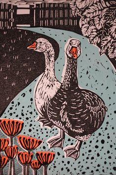 This stunning original print of two geese waddling down a garden path is a mixed media piece. Created using Silk screen printing techniques to add the blue of the path and orange of the flowers and an inked lino block has been printed over the top to add the detail. Abigail and
