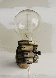 Pinocchio Wood Mannequin Hand Wall Lamp Wall by ThEeRabbitHole