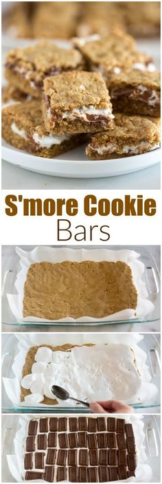S'more Cookie Bars are a thick and chewy bars with marshmallow creme and chocolate layered between layers of graham cracker cookie dough. You can enjoy S'mores any time of year with these delicious and EASY cookie bars! #smore #cookie #bar #easy #best #homemade #marshmallow #chocolate #dessert #foracrowd #foraparty