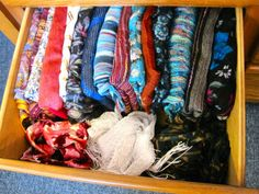 storing scarfs:  She has great ideas and even does pros and cons for different techniques.