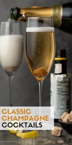 It's easy to add a dash of festivity to any party with these easy, 4-ingredient Classic Champagne Cocktails! This recipe can be made in just a few minutes and will instantly make any occasion special. Classic Champagne Cocktail Recipe, Batch Cocktail Recipe, Best Cocktail Recipes, Prosecco Cocktails, Easy Cocktails, Cocktail Drinks, Fruity Drinks, Fun Drinks, Cocktail Pictures