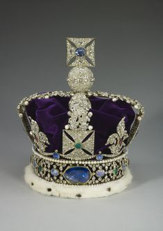 The Imperial State Crown  1937.The Imperial State Crown is formed from an openwork gold frame, mounted with three very large stones, and set with 2868 diamonds in silver mounts, largely table-, rose- and brilliant-cut, and coloured stones in gold mounts, including 17 sapphires, 11 emeralds and 269 pearls.