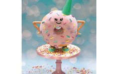 Play around with and personalise this gravity defying donut! Cake Craft, Hobbies And Crafts, Donuts, White Sausage, Squires Kitchen, Victoria Sponge Cake, Edible Glue, White Chocolate Ganache, Doughnut Cake