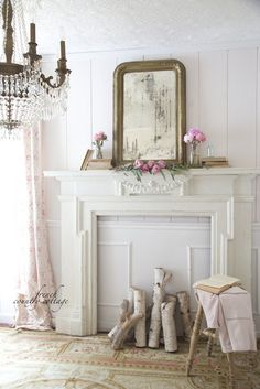 French style office with antique mantel with peonies and gold mirror French Country Mantle, French Country Bedrooms, French Country Cottage, French Country Style, French Country Decorating, Country Farmhouse, Country Cottages, Antique Farmhouse, Cottage Style