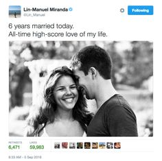 It's long been established that Lin-Manuel Miranda and his wife, Vanessa Nadal, are one of the cutest couples to ever roam the Earth. | This Lin-Manuel Miranda Facebook Memory Is The Hope We All Need Right Now