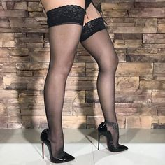 """From a new """"Heels & Stockings"""" setMore too come soon #ChristianLouboutin #HotChick #130mm #Patent #Leather #Sexy #Shiny #SkyHigh #Stiletto #HighHeels #LucyHeels #LucyLegs #LoubouQueen #RedSoles #Louboutin #Stockings #Heels #Lingerie #Set #Wife #Sensual #ShoeAddict #stilettoheelslingerie #stilettoheelsstockings #stilettoheelslouboutin"""