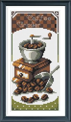 Coffee Grinder,PDF Cross Stitch Pattern Needlecraft ,Instant Download,Modern Chart by AprilBeeShop on Etsy