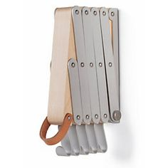 Hooks made of anodized aluminum. Leather strap for extending. Height 22. 5 cm, Width 4 cm, Extension 13-66 cm. - Maplewood Foldable Wardrobe
