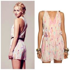 FINAL PRICE Rory Beca x F21 Pink Romper Sheer Back Pink abstract print romper from Rory Beca for Forever 21. Flowy, romantic romper with faux wrap front. Sheer, sexy racerback. Relaxed fit. Gently worn & in good condition.  Size Small. Material - Polyester.  No Trades/No PP/No Modeling. Thank you! Forever 21 Dresses Mini