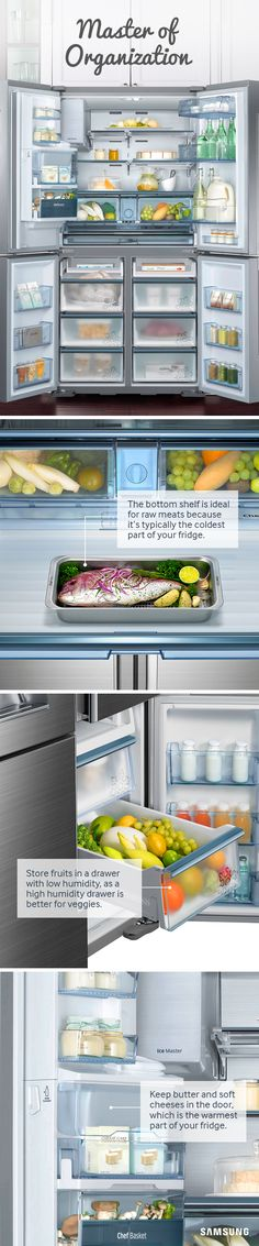 Your Refrigerator Learn how to organize your fridge like the pros, and maximize space for all your holiday leftovers.Learn how to organize your fridge like the pros, and maximize space for all your holiday leftovers. Home Organisation, Kitchen Organization, Organization Hacks, Kitchen Storage, Refrigerator Organization, Organize Fridge, Maximize Space, Home Hacks, Getting Organized