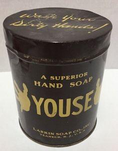 Youse Hand Soap Tin Superior Larkin U.S.A. 3 pounds Empty Vintage #Youse