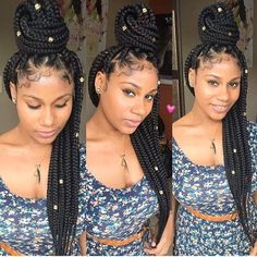 Hair By : Trendy Hair Haven  Jumbo tight box braids with cuffs. Neat lining and well placed baby hair.