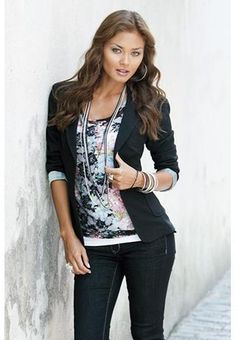 "BOYFRIEND BLAZER  Boyfriend blazer. Features a notch lapel, a two-button front, faux pockets and a contrasting printed lining. Lightweight and perfectly paired over dress pants, jeans, or dresses. 24"" from highest point on shoulder. $26.90"