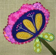 Kerry Stitch Designs: Little Block Embellishment - Block 3 (and Wool Applique Patterns, Felt Applique, Applique Quilts, Applique Ideas, Wool Embroidery, Embroidery Stitches, Embroidery Designs, Fiber Art Quilts, Feather Stitch