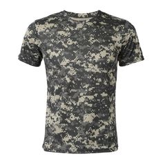 New Outdoor Hunting Camouflage T-shirt Men Breathable Army Tactical Combat T Shirt Military Dry Sport Camo Camp Tees-ACU Green L #Affiliate