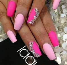 pink matte nails with rhistones