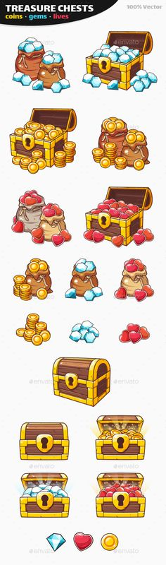 Coins with Gems and Lives Game Pack - Treasure Chest Icons - Miscellaneous Game Assets