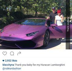 Rob Kardashian gifts Blac Chyna and Lamborghini - http://www.thelivefeeds.com/rob-kardashian-gifts-blac-chyna-and-lamborghini/