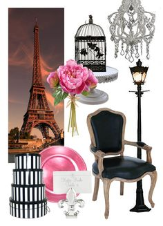Paris Decor: Setting the scene for a Night in Paris party will bring out the true girly girl in you. Pink and black (and more pink), crystal chandeliers, vintage serving dishes, misty scenes of the Eiffel Tower, twinkle lights…sigh. When guests start breaking into spontaneous poetry recitations and mad declarations of love, you'll know you've done your job. Find more ideas for A Night n Paris themed party at  http://sparklerparties.com/a-night-in-paris-/