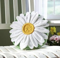 Daisy Flower Shaped Decorative Throw Pillow By Collections Etc Cute Pillows, Diy Pillows, Decorative Throw Pillows, Whiten Pillows, Cushions, Daisy Love, Daisy Girl, Pillow Inspiration, Collections Etc