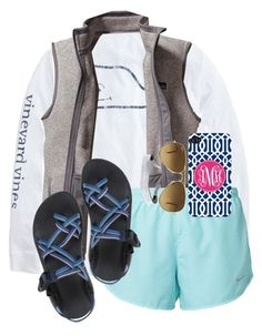 """O happy day."" by maliaackermann ❤ liked on Polyvore featuring Vineyard Vines, Patagonia, NIKE, Chaco and Ray-Ban"